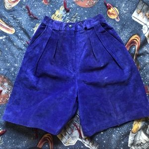 VTG 80s Blue Suede High Rise Pleated Leather Short
